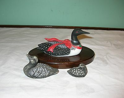 3 Collectable Loon Figurines Porcelain Loon Figurine Lipco Loon Cabin Decor