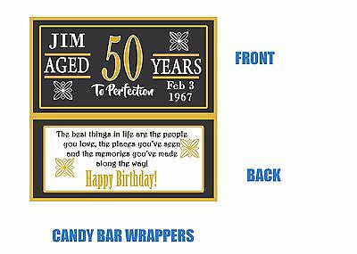50th Birthday Candy Bar Wrappers, 50th Birthday, Candy bar wrappers, favors