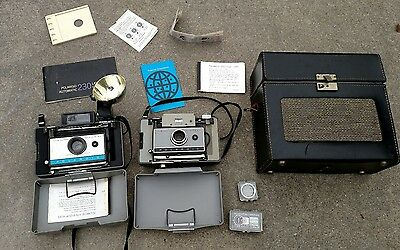 Polaroid 210 & 230 Land camera's with case, accessories and manual.