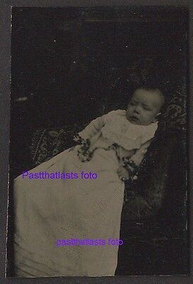 Antique Tintype Photo,Post Mortem Baby Lace or Ribbon around hads,Carpet on Seat