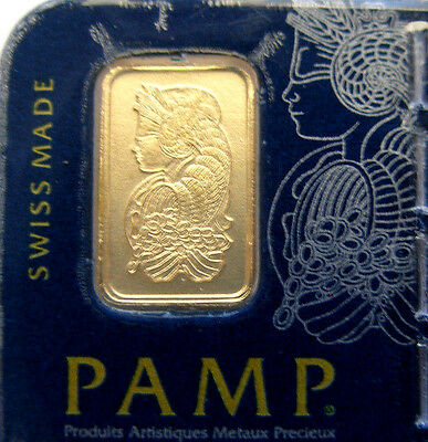 PAMP SUISSE 1 Gram .9999 Gold Bar Lady Fortuna Sealed in Assay Certificate