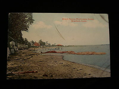 1910 Long Island Sound Branford CT Beach Scene Montowese House Cottages & Homes