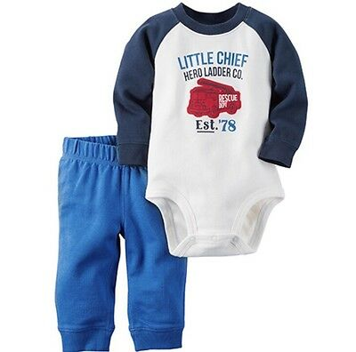 Carter's Baby Boys' 2-Pc Long Sleeve Bodysuit & Pants Set Size 9M