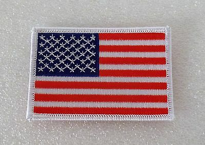 AMERICAN FLAG EMBROIDERED PATCH WHITE BORDER USA IRON ON OR SEW ON, Made in USA