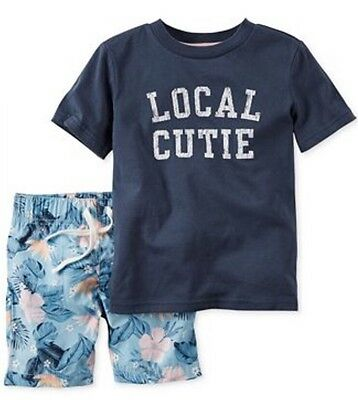 Carter's Baby Boys' 2-Pc Local Cutie T-Shirt & Shorts Set Size 3M
