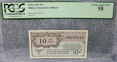 Series 461 PCGS 58 Choice About New Military Payment Certificate 10¢
