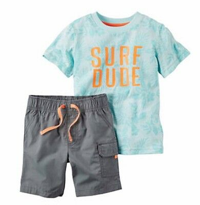 Carter's Baby Boys' 2-Pc. Surf Dude T-Shirt & Cargo Shorts Set Size 3M