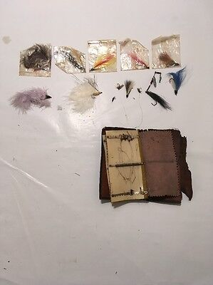 35 Plus Tied Flies Fly Fishing Lures Carrying Case vintage