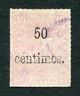 DOMINICAN REPUBLIC #61 50c ON 10c ROSE ISSUE OF 1883 - USED