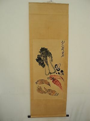 Excellent old Chinese Scroll Painting By Qi Baishi: vegetable Y015
