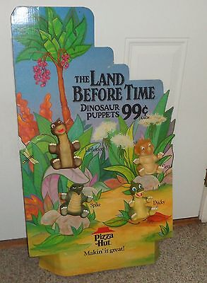 The Land Before Time Dinosaur Hand Puppet Toy Set Pizza Hut Display 1988