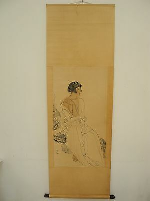Excellent old Chinese Scroll Painting By Lin fengmian:lady Y025