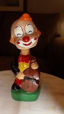 Vintage Bobblehead Nodder Clown Bank W/Base 8""