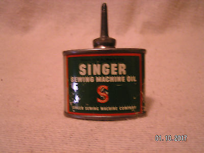 Original Vintage SINGER Sewing Machine Oil Tin Can Small 1 1/3 oz with-OUT Cap