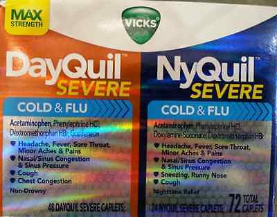 VICKS DayQuil & NyQuil Severe ** COLD & FLU Relief ** 72 Caplets COLD & FLU