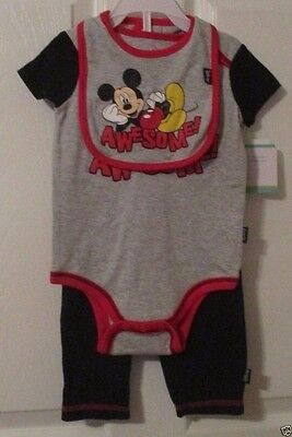 Disney Baby, Mickey Mouse Awesome!, 3/6 Months, Bibb, Body Suit & Pants, NWT's