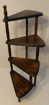 Vintage Wood 4 Tier Plant Stand Knick Knack Display Floor Shelf