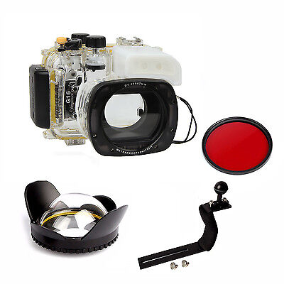 Underwater Housing Diving Case For Canon G16 Handle Wide Angel Fisheye Dome lens