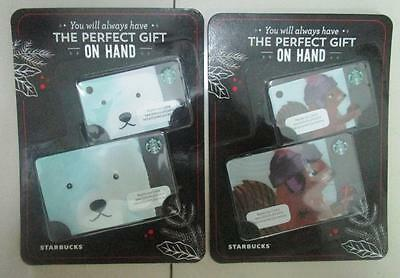 2016 set of 4 STARBUCKS Christmas Cards POLAR BEAR SQUIRREL PHILIPPINES mint