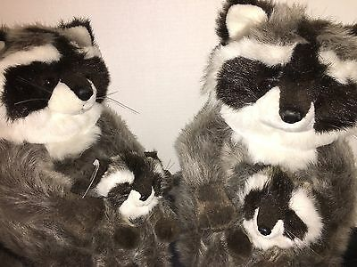 "LA-Z-BOY 1991 ADV PROMO RACCOON FAMILY Lot of 4 Plush Raccoons - Two 18"", Two 9"""
