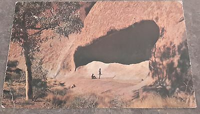 1960s vintage Postcard Australia Aborigine Mythical cave Ayers Rock