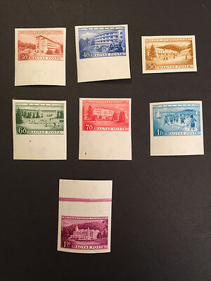 1953 Imperforate Imperf Complete set of 7. Hungary Scott 1036-40,C121-22. MNH.