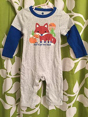 "Old Navy Long Sleeved Fox Romper One-Piece, Size 12-18M, ""Dad's got my Back"""
