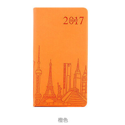 Orange Pocket 2017 Yearly/Monthly/Day Planner Schedule Notebook Diary Leather #B