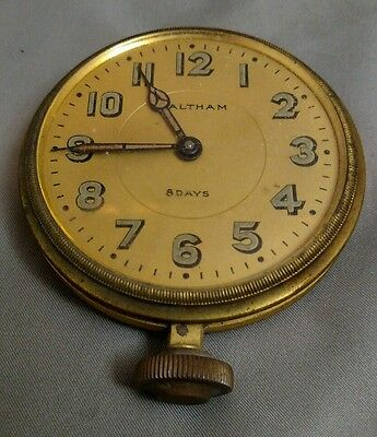 Vintage Waltham 8 Day Clock - Automobile - Automatic - 40s - Brass AS IS RESTORE