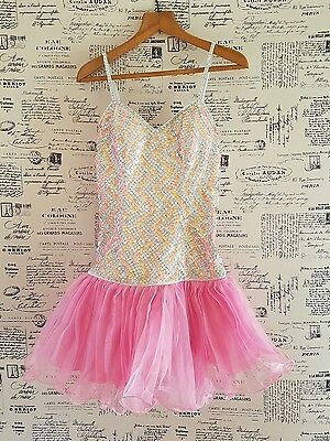 Stunning professionally hand-made in NY pink figure skating/dance dress sizeAU12