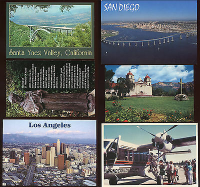 Collection 6 USA postcards Grand Canyon San Diego Cold Spring St Francis etc.