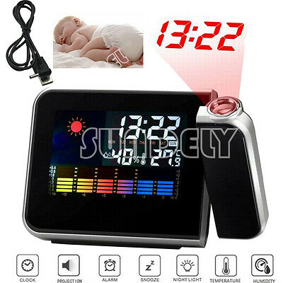 UK Digital LED Alarm Time Dual Laser Wall Projector Projection Temperature Black