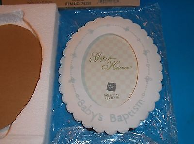"Russ Gifts From Heaven ""Baby's Baptism"" Picture Frame 7"" x 5 3/4"" Porcelain"