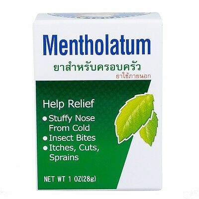 Mentholatum Ointment Balm Cold Headache Blocked Nose Itches & Sprains Relief 28g