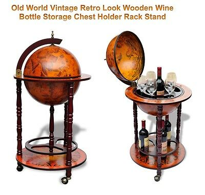 Old World Vintage Retro Look Wooden Wine Liquor Bottle Storage Holder Rack Stand