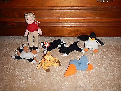 TY sofy toy bundle of 7,cats,giraffe,pelican,person