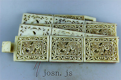 Chinese Natural Ancient old jade jadeite hand-carved no pendant belt dragon 11