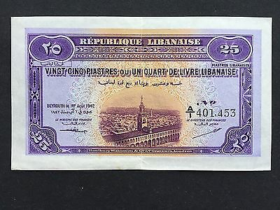 Lebanon 25 Piastres P36 Scarce A/1 Prefix Dated 1st August 1942 EF/EF+