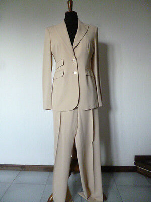 TAILLEUR GIACCA PANTALONE COMPLETO DONNA CARACTèRE TG 42 ELEGANTE BEIGE