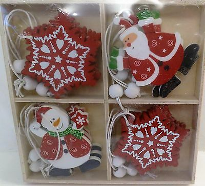 12 New Hanging Wooden Shabby Christmas Tree Chic Decoration Lovely Xmas Display