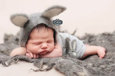 Uk Felted bunny rabbit Layer hat Toy Photography prop Newborn grey Set Easter