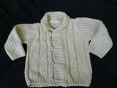 Boys Beige Thick Knitted Cardigan Matalan Age 12 - 18 months