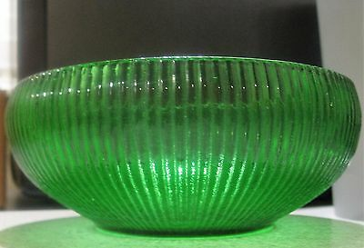 "Green Ribbed Bowl Dish Made By E.o. Brody Co In Cleveland Oh Usa ~ 6"" Diameter"