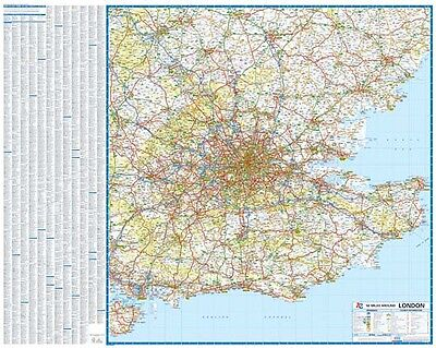 Road Map Of Uk.South East England 50 Miles Around London Road Map Gloss Laminated Wall Map
