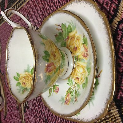 Royal Albert Yellow Tea Rose Trio- fine bone china-made in England-Lovely!
