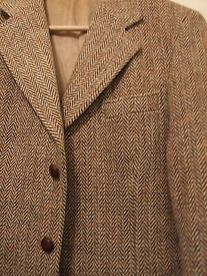 Vintage Gent's Harris Tweed Jacket Dunn & Co / Beige-Brown Herringbone Uk38L