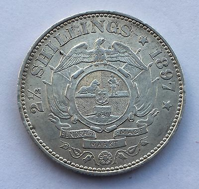 1897 Half Crown 2.5 Shilling Paul Kruger pre Boer War ZAR coin South Africa NICE