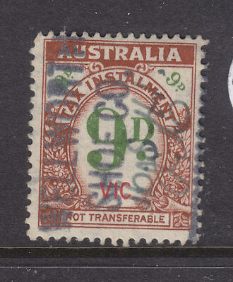 AUSTRALIAN TAX INSTALMENT  9d BROWN  AND GREEN  VIC IN RED  USED AND SCARCE!!