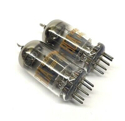 Matched Pair  12AY7  NOS  Grey plate ring getter RCA USA  Valve Tubes