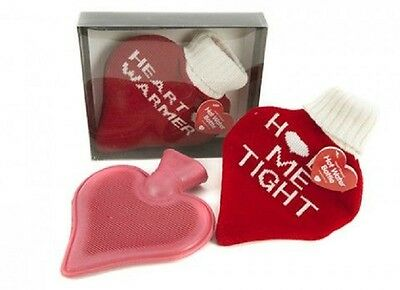 Valentines Day Heart Shaped Hot Water Bottle with Cover and Personalised Card